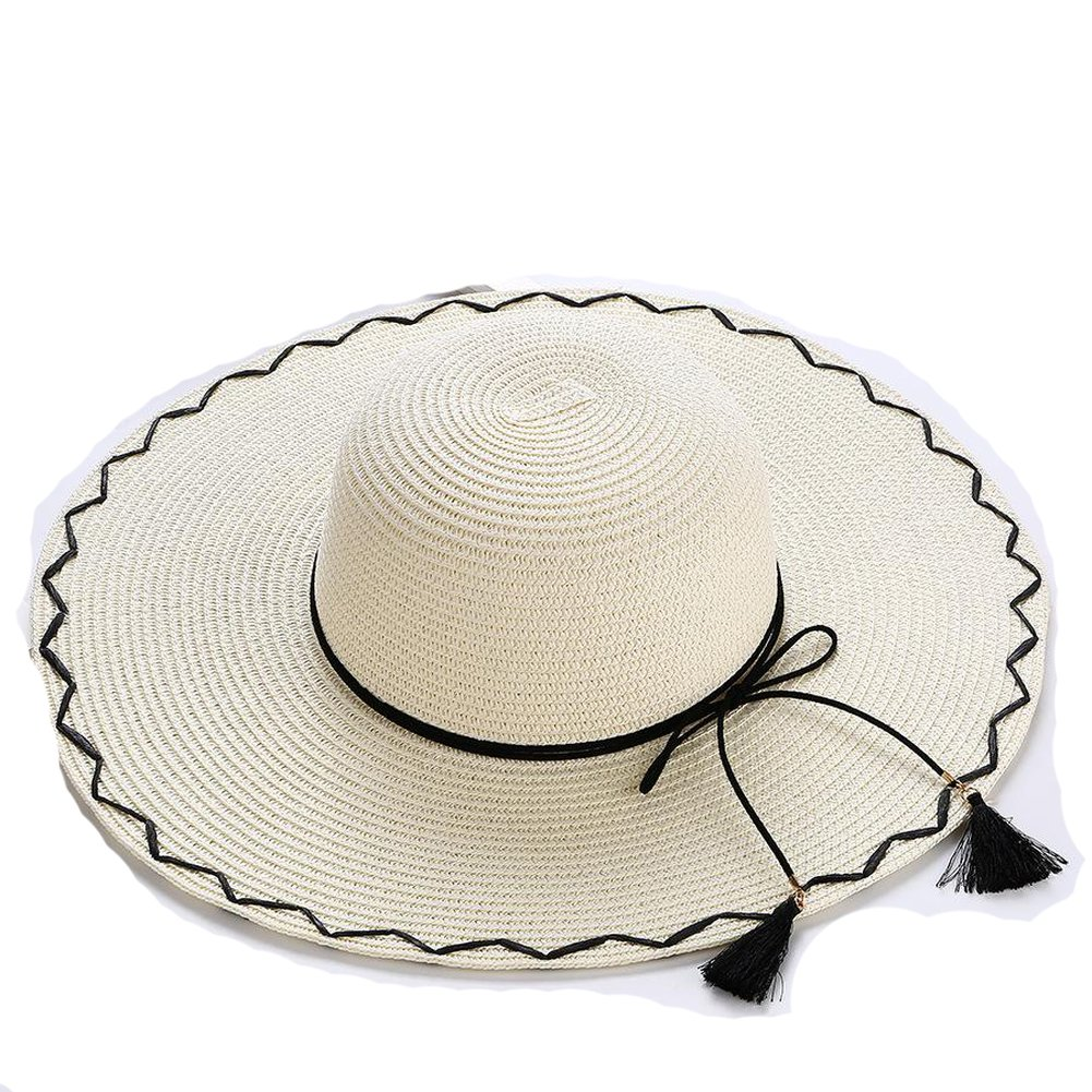 AOBRITON Sun Hat Women Wide Brim Straw Bow Beach Hat Travel Seaside Vacation Suncreen Cap