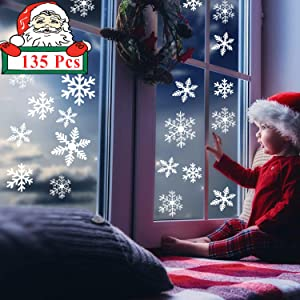 Christmas Snowflake Window Clings Decals 135pcs White Snowflakes Window Stickers for Christmas Holiday Decor