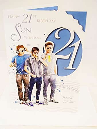 Happy 21st Birthday Son Card Elegant Mens Lovely Verse Male Boys Age