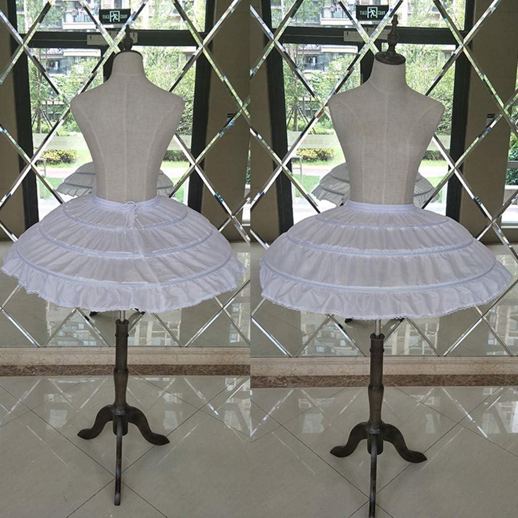 zhiwenCZW Enfants Filles 3 Cerceaux en Acier Blanc Robe De Robe De Mariage De Jupon Jupe sous Ceinture /Élastique Cordon Cordon A-Ligne Jupe Ruffles Edge