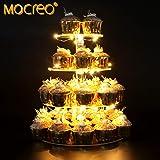 MOCREO ケーキスタンド LEDストリングライト 4段 アクリル 結婚式 誕生日 パーティー用 ディスプレイスタンド 円型 LEDストリングライト贈り物