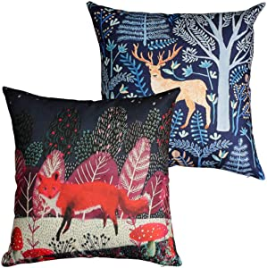 Winter Decor Outdoor Pillow Covers,Forest(Wolf,Deer) Pattern Throw Pillow Cases,Nordic Cushion Covers for Living Room,Couch,Bed,Sofa,18x18 Inch,2Pack
