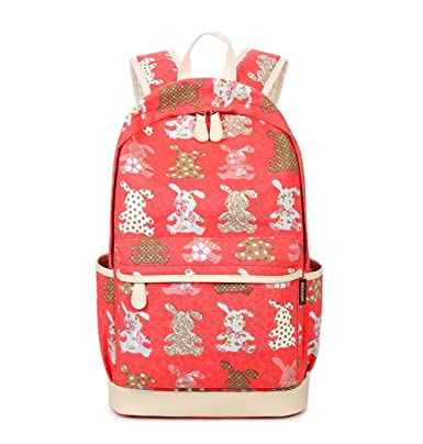 f2eec93d5cc8 FULOZO® Women s Rabbit printed Fashion Lightweight Canvas Backpack Set 3  Pieces School Backpacks for Teenage Girls School Bag Sets