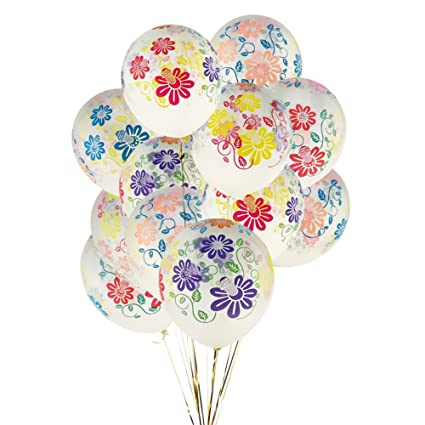 Amazon KUMEED 12 Clear Flowers Latex Balloons Birthday Party