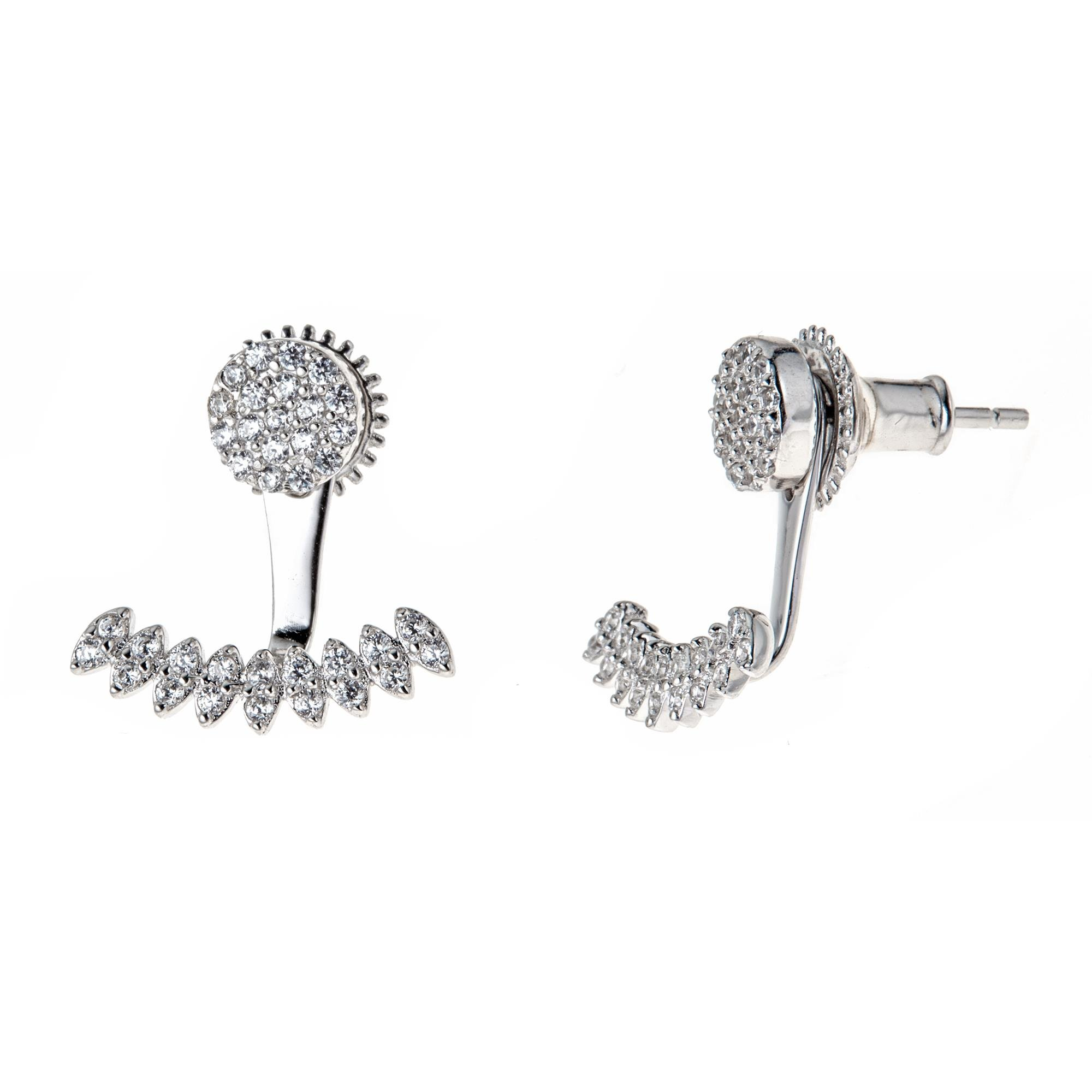 Platinum Plated 925 Sterling Silver Round Cubic Zirconia Round Disc Stud And Curved Bar Earring Jackets
