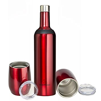 fbc2ba2da4ee Wine Bottle (Gift Set insulated Wine Bottle & 2 Wine Tumblers) Dual  Opening- Triple Insulated stainless ...