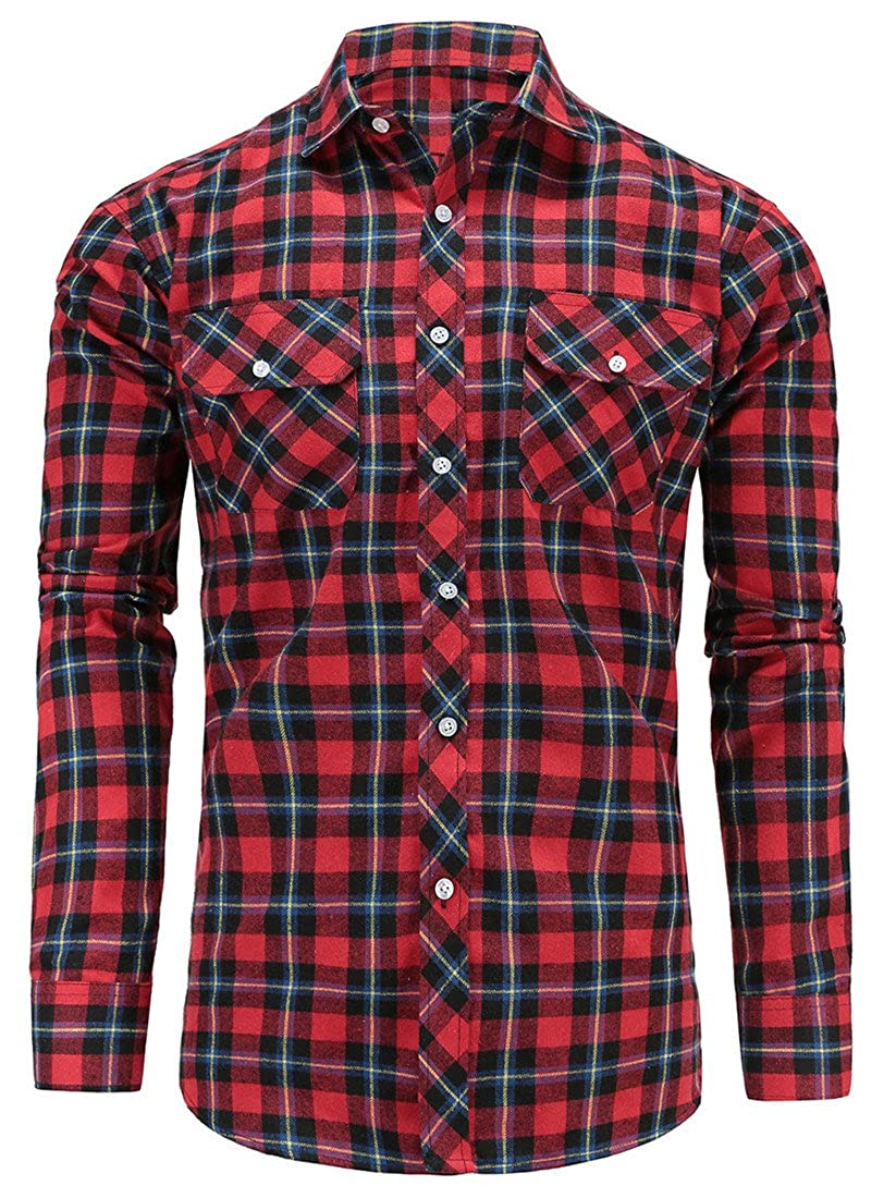 Dioufond Men's Casual Regular Fit Long Sleeve Plaid Flannel Shirt Checked Button Down Fashion Shirts with Front Pocket