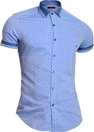 Camisa Azul Cielo para Hombre Mondo Manga Corta Algodón Ajustado Patrón de Gotas: Amazon.es: Ropa y accesorios
