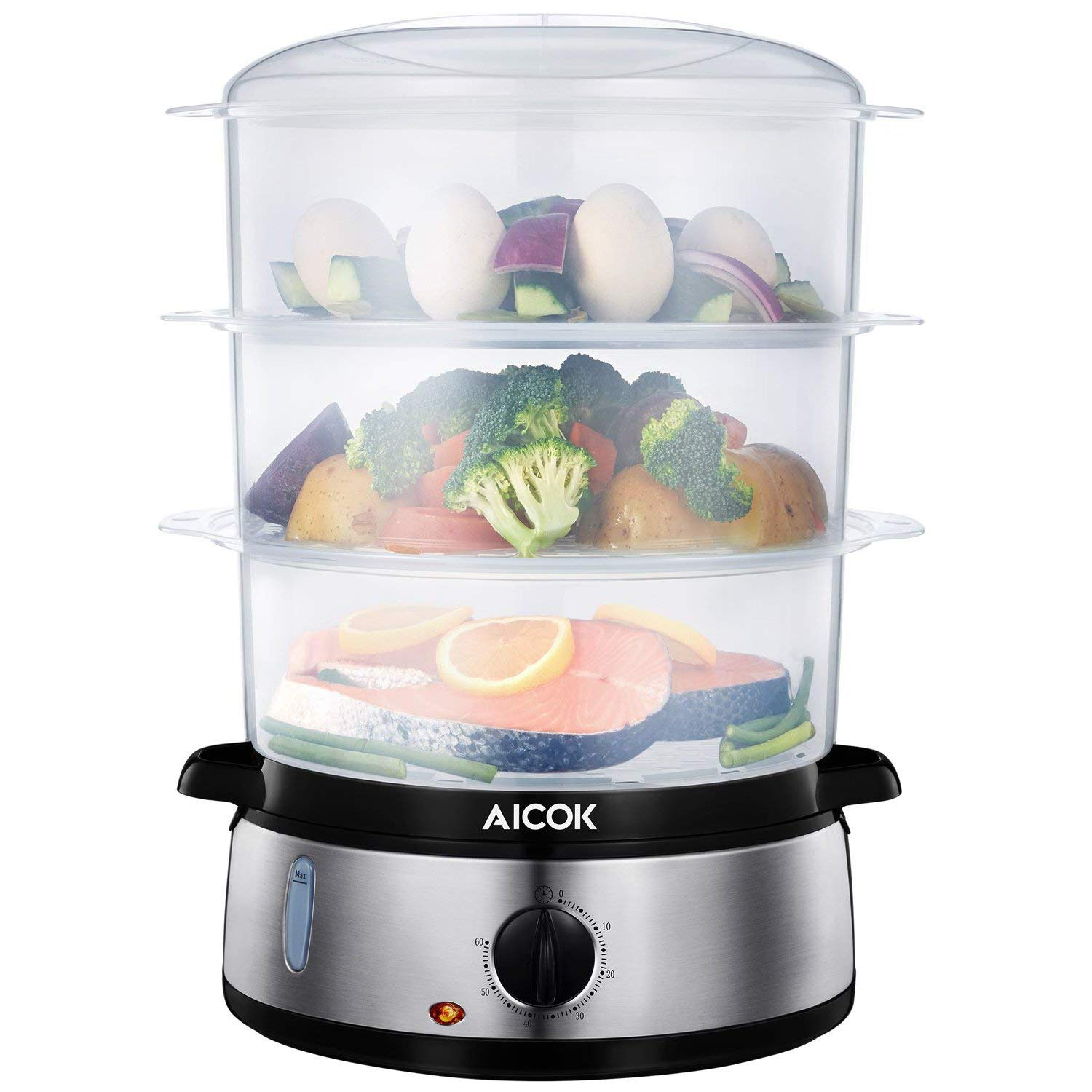 AICOK Food Steamer 9.5 Quart Vegetable Steamer, 800W Fast Heating Electric Steamer Including 3 Tier Stackable Baskets with Rice Bowl, Stainless Steel