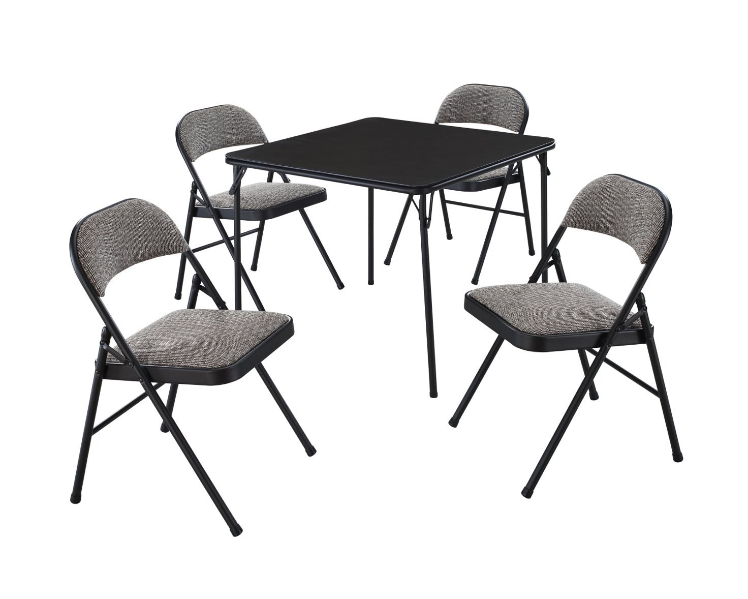 MECO 5-Piece Folding Table and Chair Set, Black Lace Frame and Courtyard Upholstery by MECO