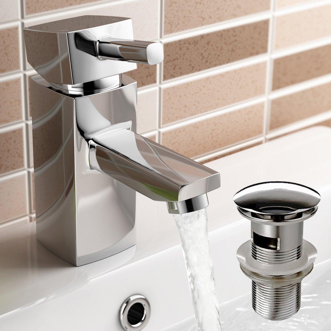 iBathUK Chrome Basin Sink Mixer Tap Modern Bathroom Pop Up Waste TB63S
