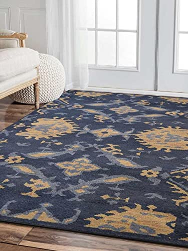 Rugsotic Carpets Hand Knotted Wool 9'x12' Area Rug Floral Blue N00908