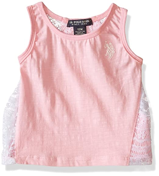 8af5b55d9 Amazon.com  U.S. Polo Assn. Baby Girls  2 Piece Lace Trimmed Tank ...