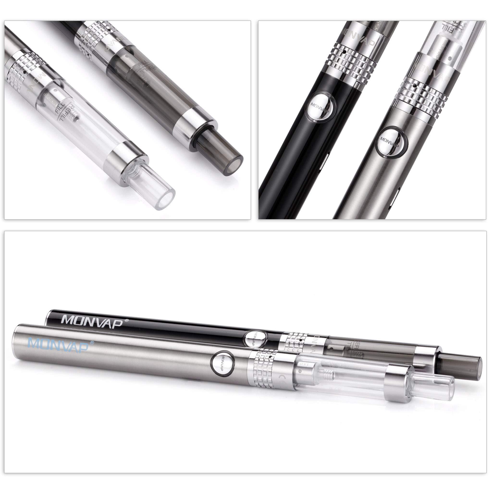 Vape Pen Kit, E Cigarettes Starter Kit, Micro USB Recharge Vape Pen x 2, MONVAP M2 Complete Ecigs Set, 900mAh Recharge Battery, 1.6ohm/2ml Atomizer, Double Pen with Premium Vape Liquid, No Nicotine