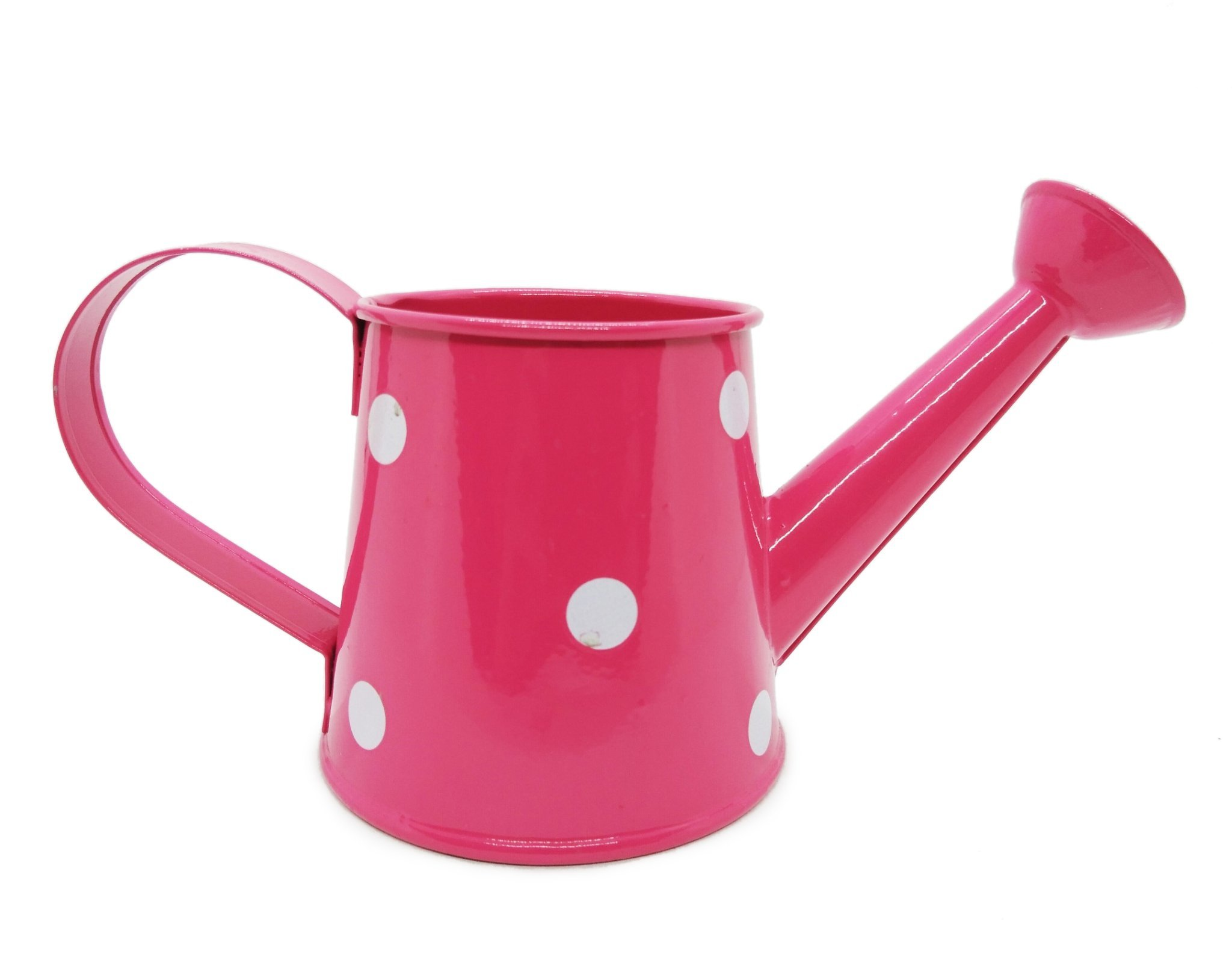 WitnyStore Watering Can Polka Dot Vintage Pot Garden Decor Miniature Sprinkler Nozzle Flower Arrangement (Hot Pink)