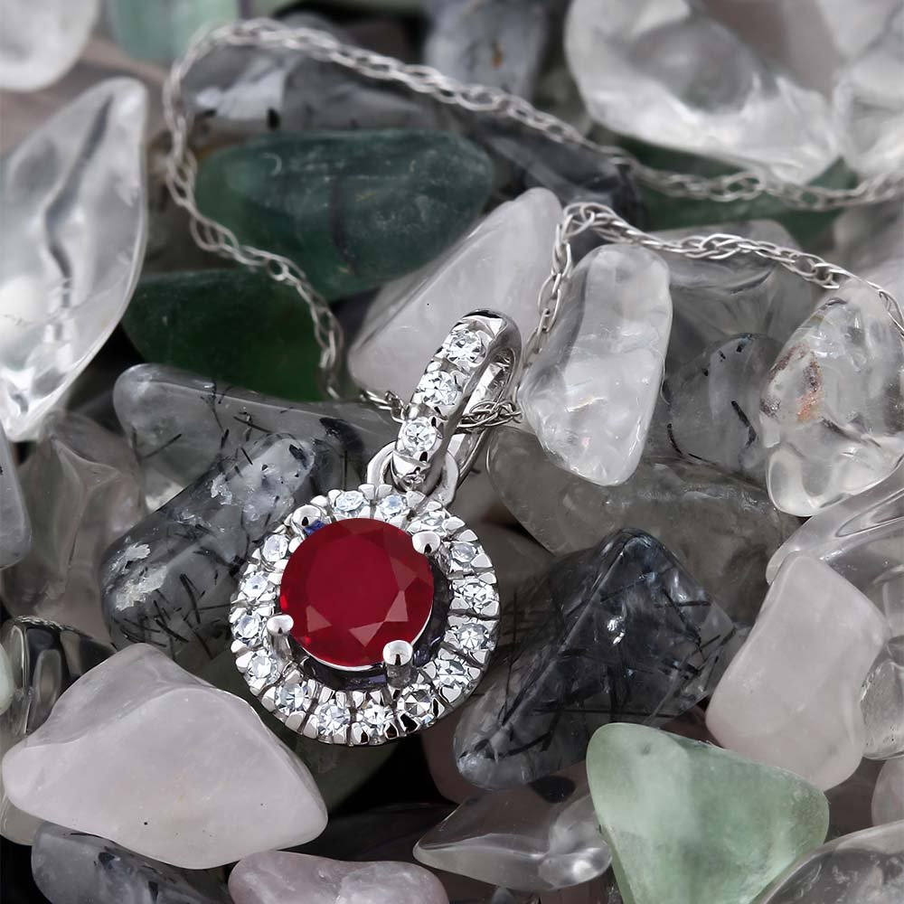 18K White Gold Diamond Halo Solitaire Pendant 0.40 Ct Round Red by Gem Stone King (Image #2)