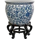 "Oriental Furniture 16"" Floral Blue & White Porcelain Fishbowl"