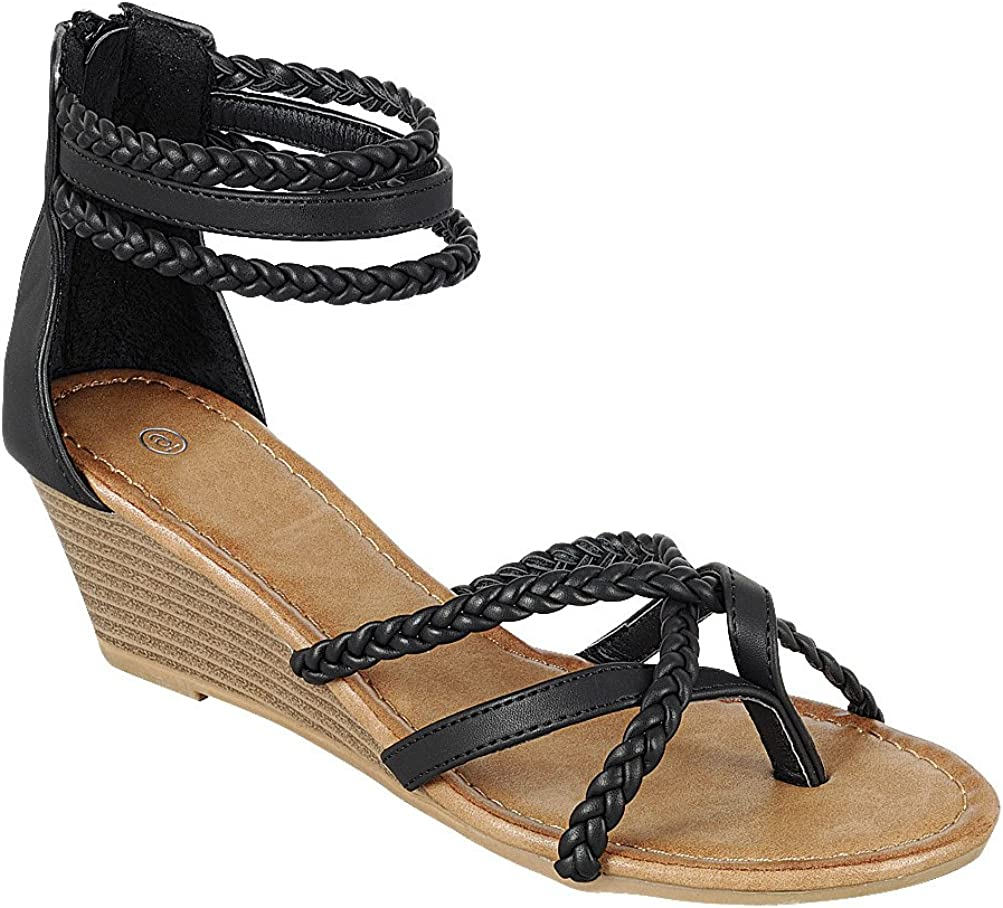Cambridge Select Womens Back Zip Strappy Crisscross Braided Ankle Thong Toe Wedge Sandal