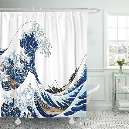 Emvency Shower Curtain Curtainswhite Japanese Big Wave Japan Hokusai Ocean Fuji Vintage Mountain Mount Extra Long
