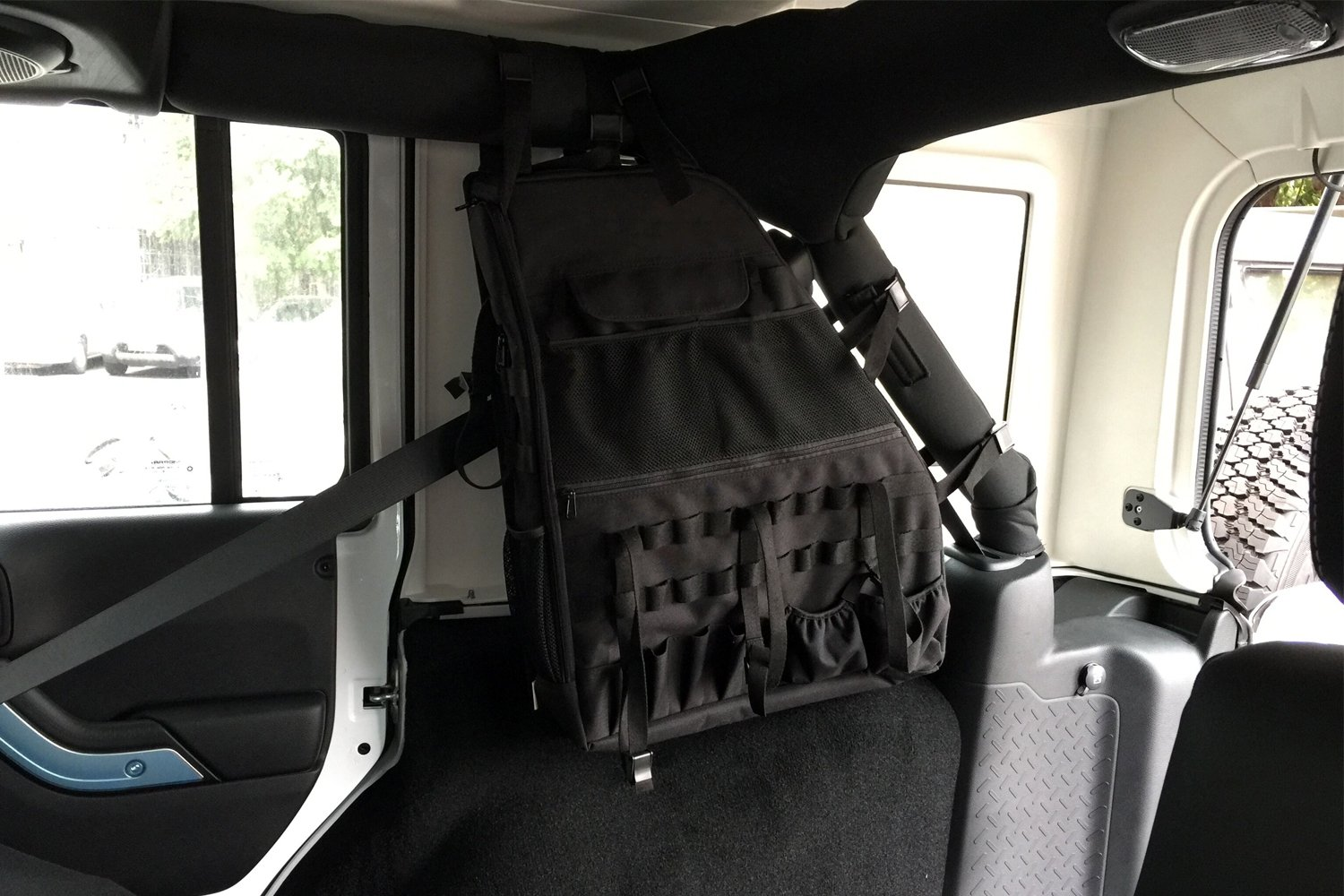Multi Functional and Large Capacity Jeep JK Storage Saddle Bags Fits Jeeps Years 2007-2017 Jeep Wrangler Roll Cage Storage Saddle Bags