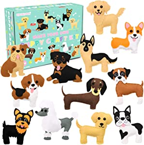 CiyvoLyeen Puppy Craft Kit Kids DIY Crafting and Sewing Set Dog Stuffed Animal Felt Plushie for Girls and Boys Educational Beginners Sewing Set