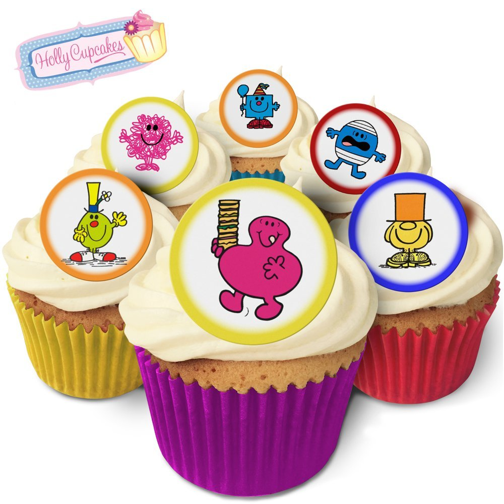Holly Cupcakes 24 Fabulous Pre-Cut Edible Wafer Cake Toppers Mr Men