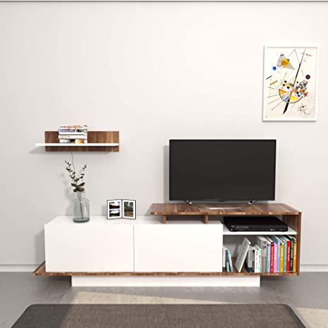 Design Porta Tv.Theta Design By Homemania Martin Porta Tv Bianco Bianco Marrone 183 X 36 X 11 Cm
