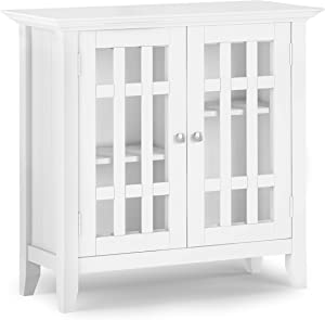 SIMPLIHOME Bedford SOLID WOOD 32 inch Wide Rustic Low Storage Media Cabinet in White