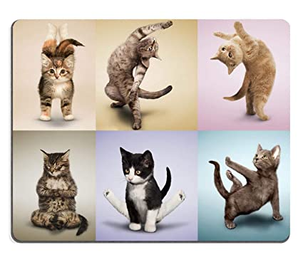 Yoga Cats Cute Kitty,Non-Slip Thick Rubber Large Mousepad Pad