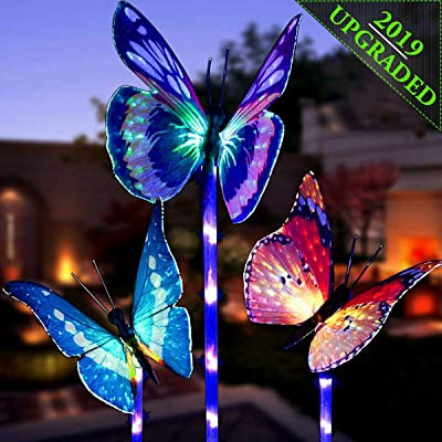 OKBONN Solar Garden Lights Outdoor - 3 Pack Solar Stake Light Multi-Color Changing LED Garden Lights, Fiber Optic Butterfly Decorative Lights, Solar Powered Yard Art with a Purple LED Light Stake : Garden & Outdoor