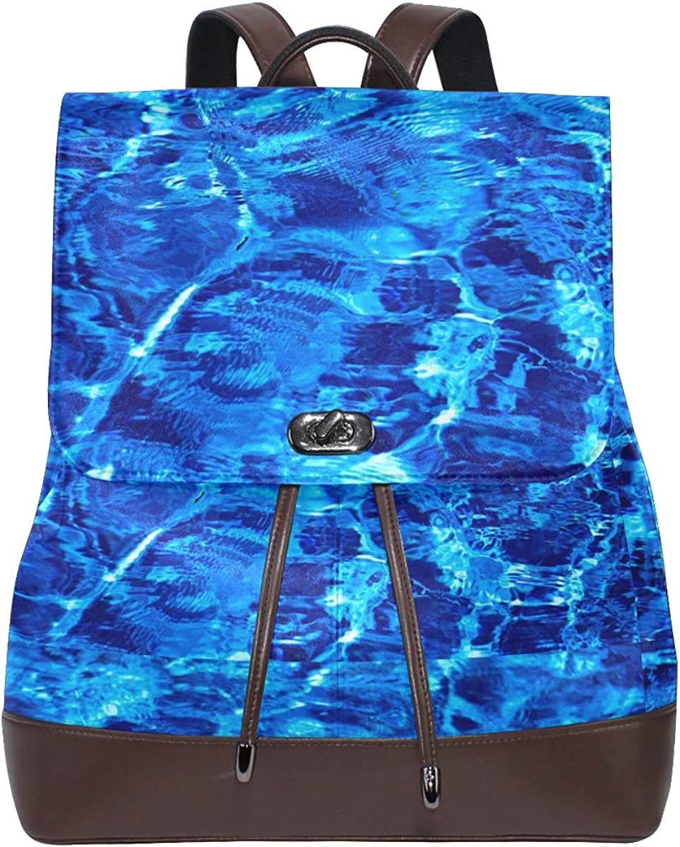PU Leather Shoulder Bag,Blue Bright Clean Color Marble Backpack,Portable Travel School Rucksack,Satchel with Top Handle