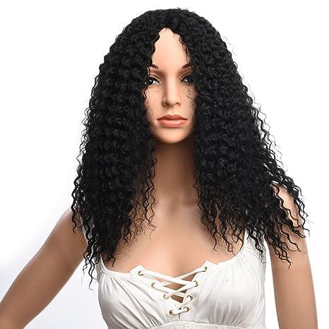 Silike Afro Kinky - Peluca rizada de fibra Kanenkalon, peluca para mujer negra, peluca