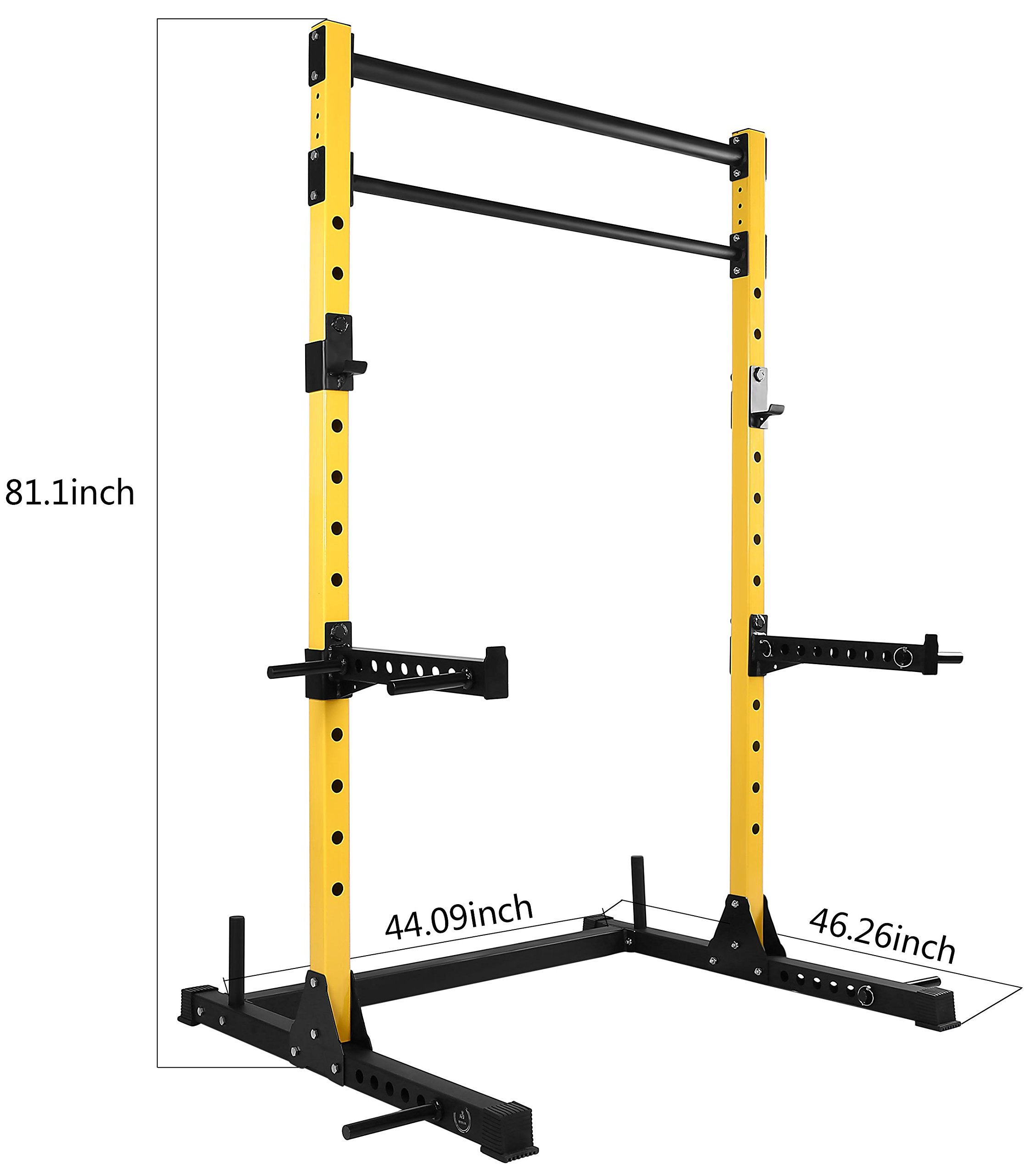 HulkFit Multi-Function Adjustable Power Rack Exercise Squat Stand with J-Hooks, Spotter Arms Dip Bars and Pull Up Bars, 800-Pound Capacity by HulkFit (Image #3)