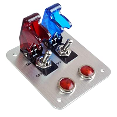 2 Rows Safety Cover Toggle Switch with Red Indicator Light Aluminum Plate 12V 20Amp (Red/Blue): Automotive