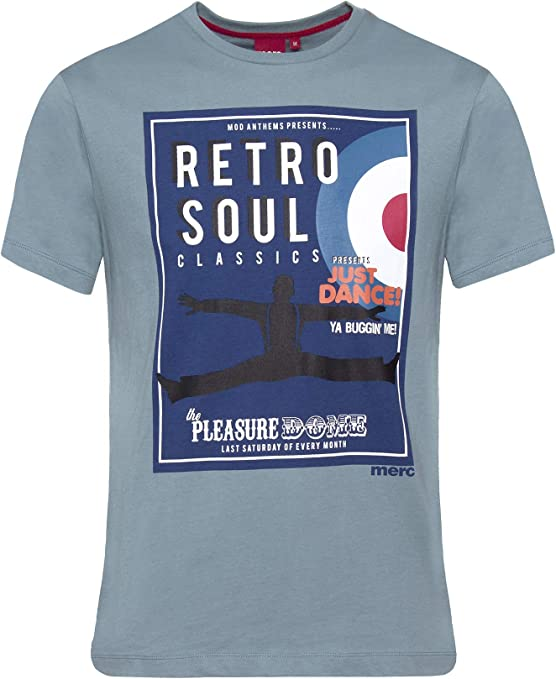 Merc Palmer, camiseta retro con gráficos de alma con mangas cortas y cuello redondo Azul Azul De La Pizarra M: Amazon.es: Ropa y accesorios