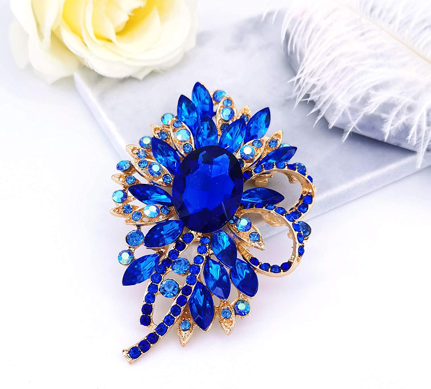 YOQUCOL Vintage Blue Austrian Crystal Flower Bouquet Shape Big Large Brooch Pin for Women and Girls
