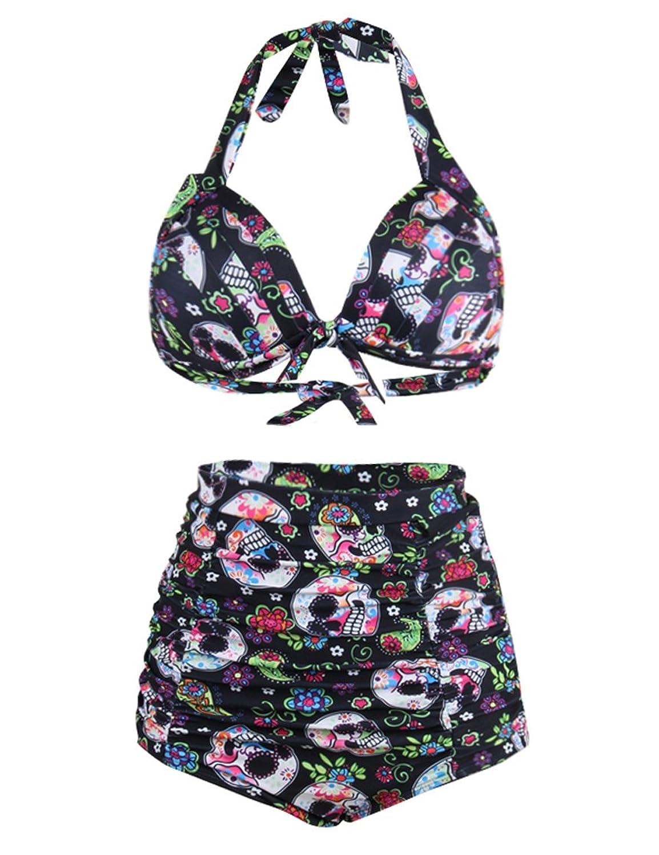 Women S 50s Retro Swimsuit High Waisted Bikini Bottom 2