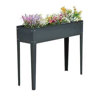 Outsunny 40  x 12  x 32  Metal Elevated Garden Bed Planter Box (Dark Gray)