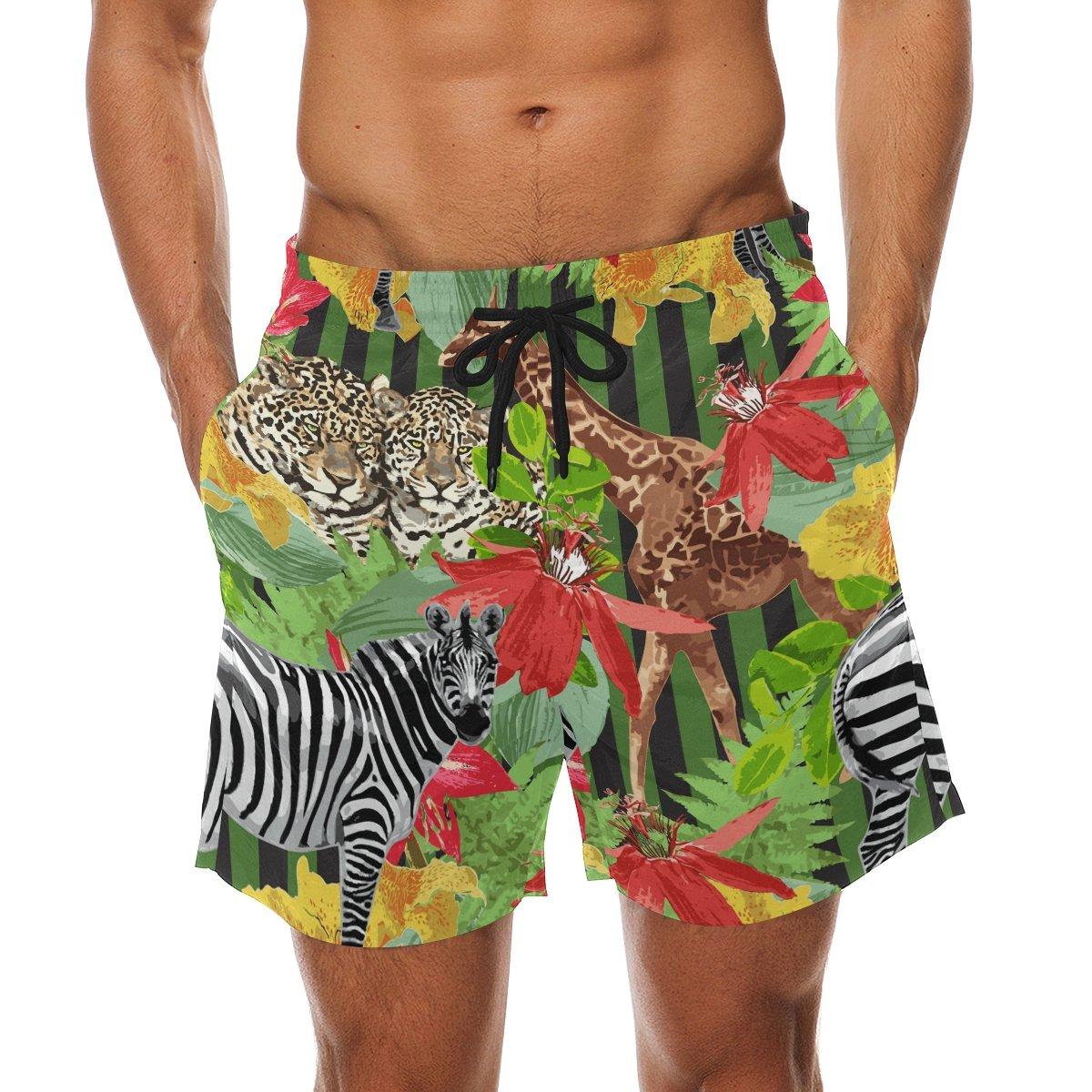 LORVIES Mens Leopards Zebra Giraffe Beach Board Shorts Quick Dry Swim Trunk