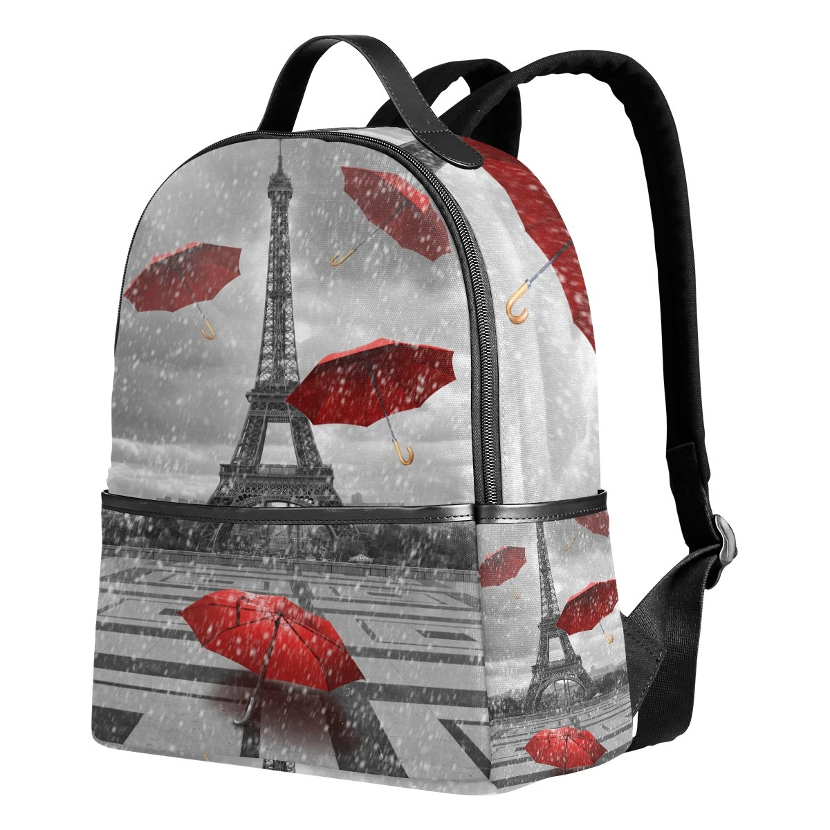 Use4 Red Umbrella Paris Eiffel Tower France Polyester Backpack School Travel Bag