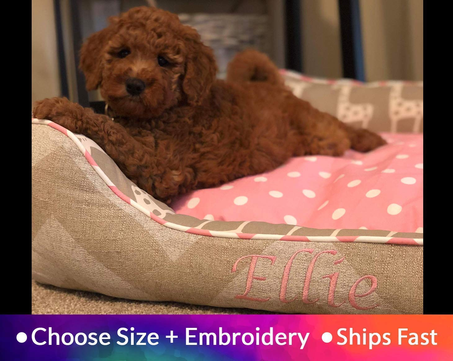 Washable Dog Bed Pink Beige | Adorable Large Dog Bed | Chevron Polka Dot Personalized