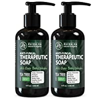 Antifungal Antibacterial Soap & Body Wash - Natural Fungal Treatment with Tea Tree Oil for Jock Itch, Athletes Foot, Body Odor, Nail Fungus, Ringworm, Eczema & Back Acne - For Men and Women - 2 Pack