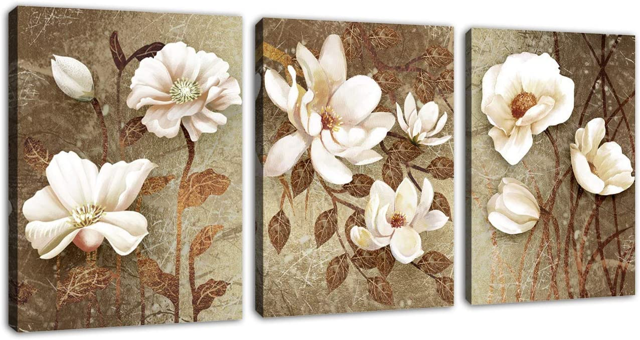 """Vintage Wall Art Flowers Bedroom Wall Decor 3 Pieces Canvas Wall Art White Blossom Abstract Canvas Pictures Modern Artwork Bathroom Living Room Decoration Framed Ready to Hang 16"""" x 24"""" x 3 Pieces"""