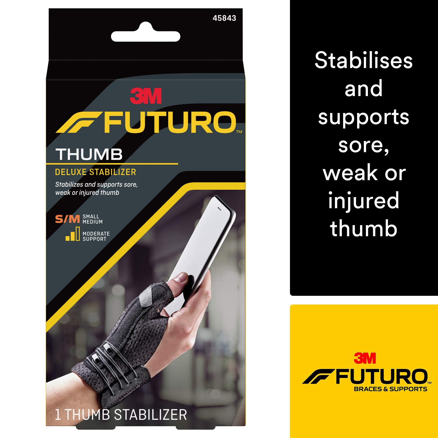 Futuro Deluxe Thumb Stabilizer, Improves Stability, Moderate Stabilizing Support, Large/X-Large, Black