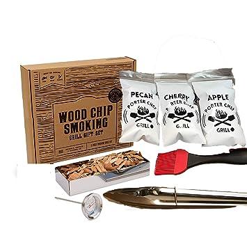 Porter Chef parrilla 9 piezas Premium barbacoa madera Chip juego de parrilla