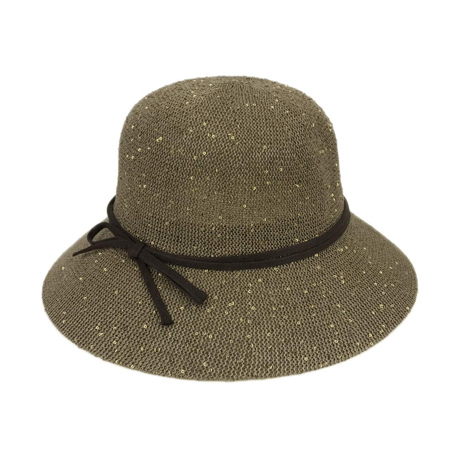 Women Shiny Fedora Hats Spring Round Top Trilby with Bowknot Vintage Knitted Casual Sunshade Hats