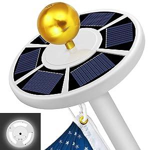 MOICO Solar Flag Pole Light, 42 Super-Bright Solar Powered LED Flagpole Light, Waterproof Solar Light for in-Ground Poles 15-20 Foot, Energy Saving LEDs, Auto On/Off Night Lighting