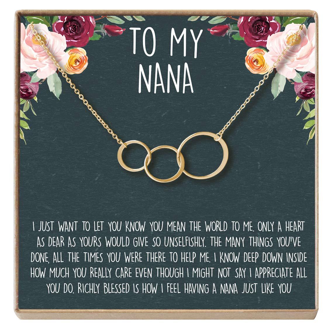 3 Asymmetrical Circles 3 Asymmetrical Circles Gold-Plated-Brass NA for Grandma Dear Ava Nana Gift Necklace: Nana Jewelry Grandmother