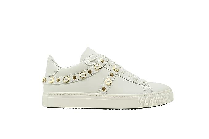 Stokton Sneakers 688-D Vitello Bianco Borchie Oro Bianco 29cf84a0f7c
