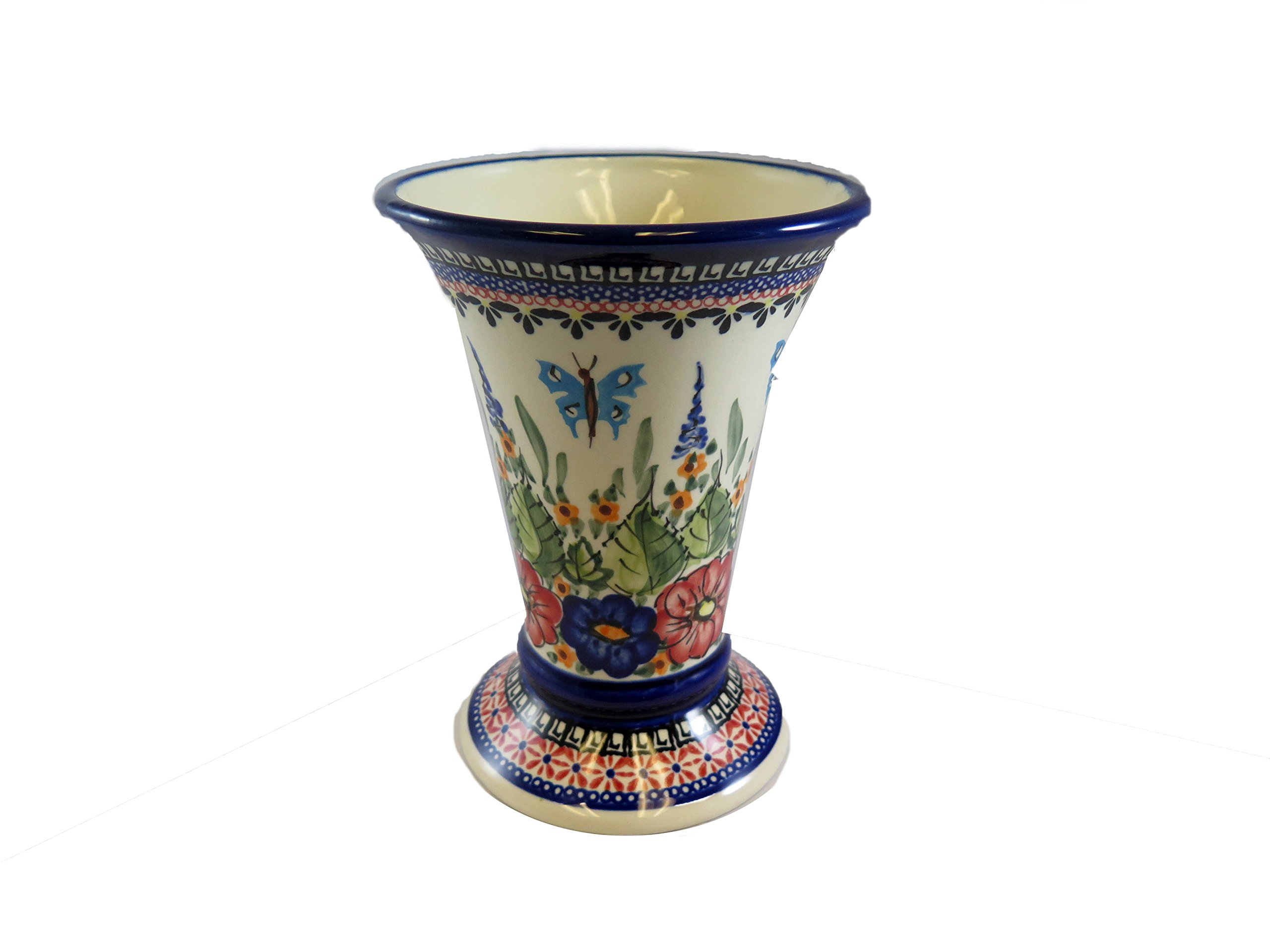 Polish Pottery Tall Vase, 7.7 inches Tall x 5.5 inches at The top